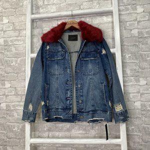 Blank NYC Faux Fur Collar Denim Jacket Size Small